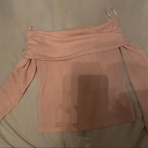 Zara pink salmon off the shoulder knit sweater